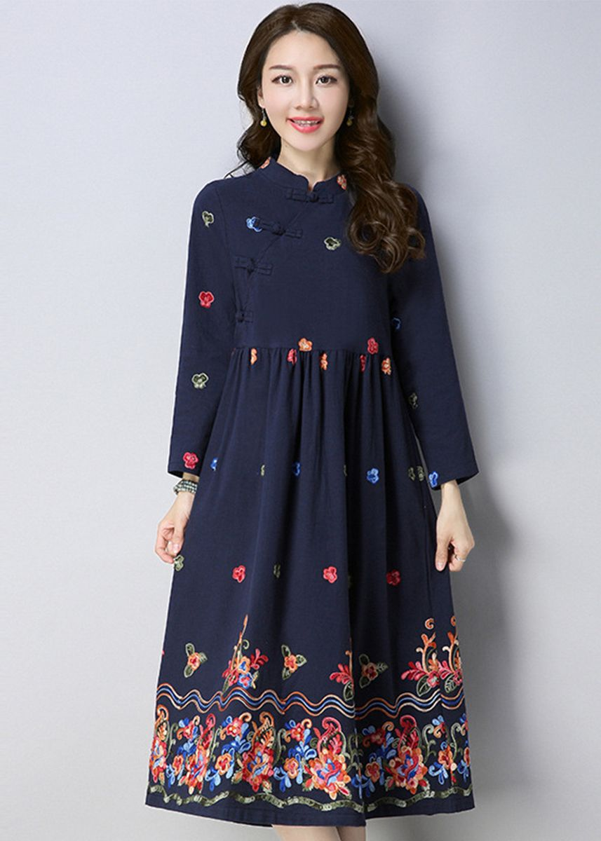 Navy color Dresses . Lady Midi Maxi Dress Dinner Party Causal Navy -
