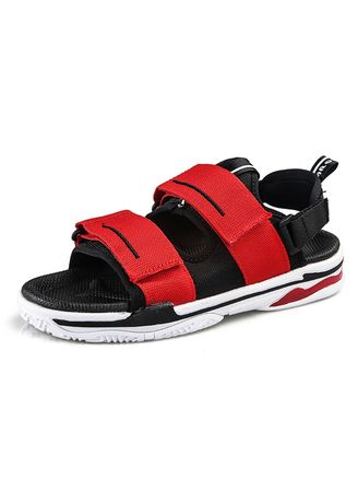 Red color Sandals and Slippers . Men's Fashion Casual Solid Color Beach Shoes -