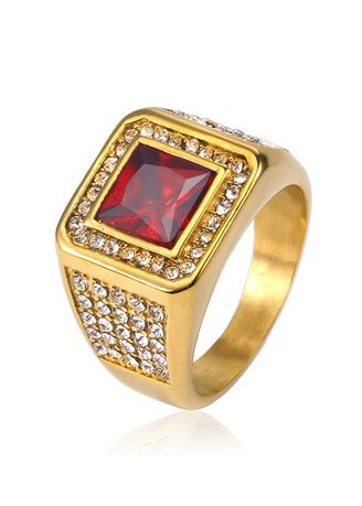 Red color Rings . JZ090 Fashion Gold Men's Zircon Ring -