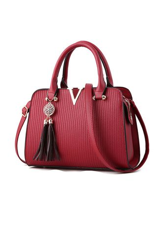 Red color Hand Bags . Letter Simple Pure Color Fashion PU Handbag -