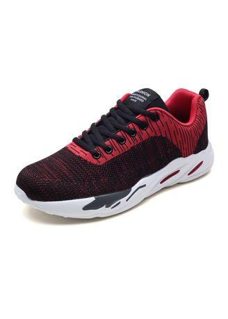 Red color Sports Shoes . Men's Shoes Fashion Trend Flying Woven Mesh Breathable Casual Sports -
