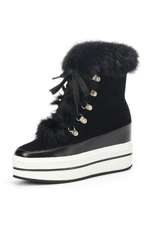 Black color Boots . Thick Bottom Warm Snow Boots And Hair Lining Real Rabbit Fur Nubuck -