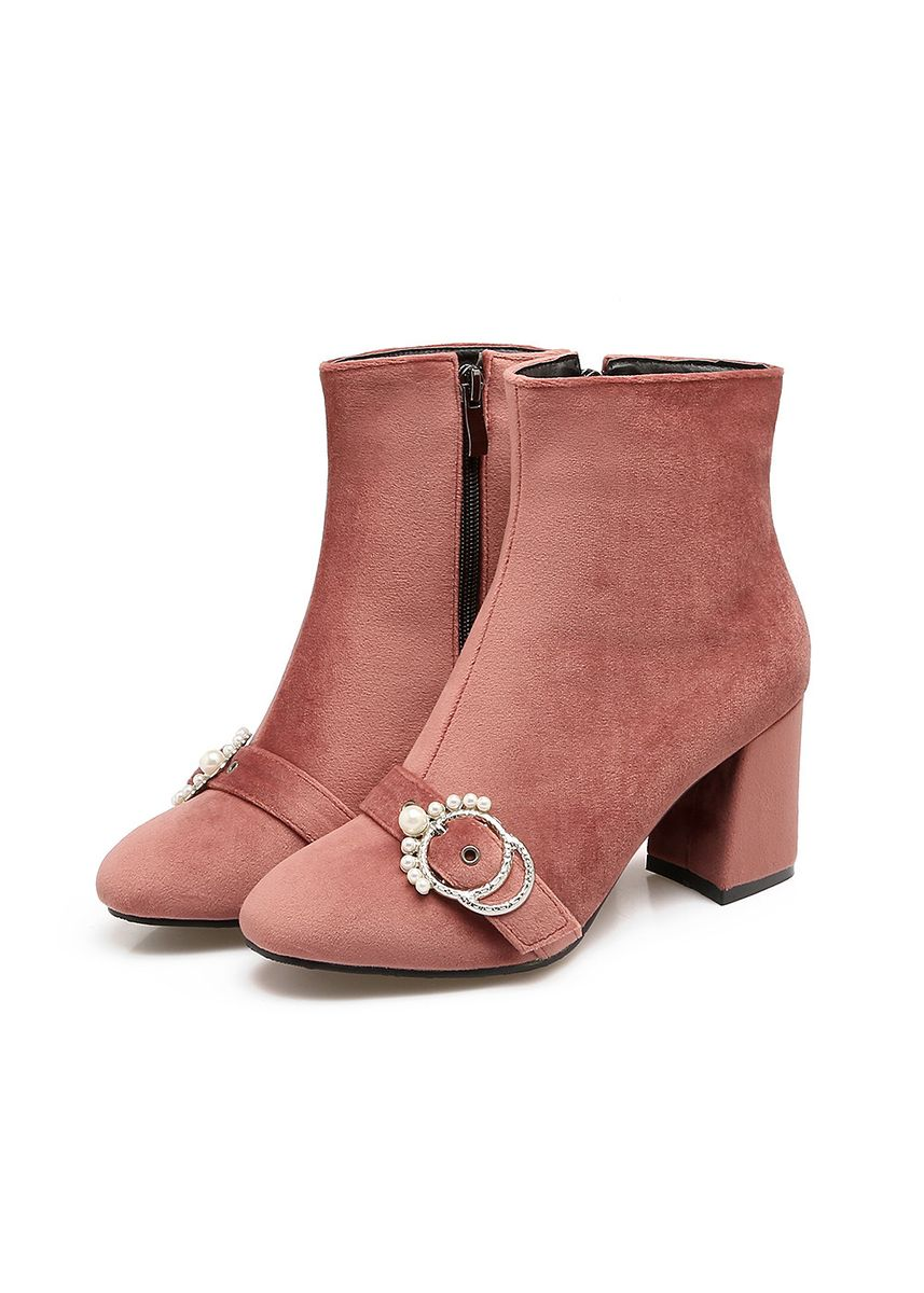 Pink color Boots . Women's Shoes, High Heel, Thick And Square Head 32-43 Size Code Low -