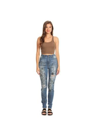 Blue color Jeans . Fashion Fan Chao Floral Printed Washed Jean -