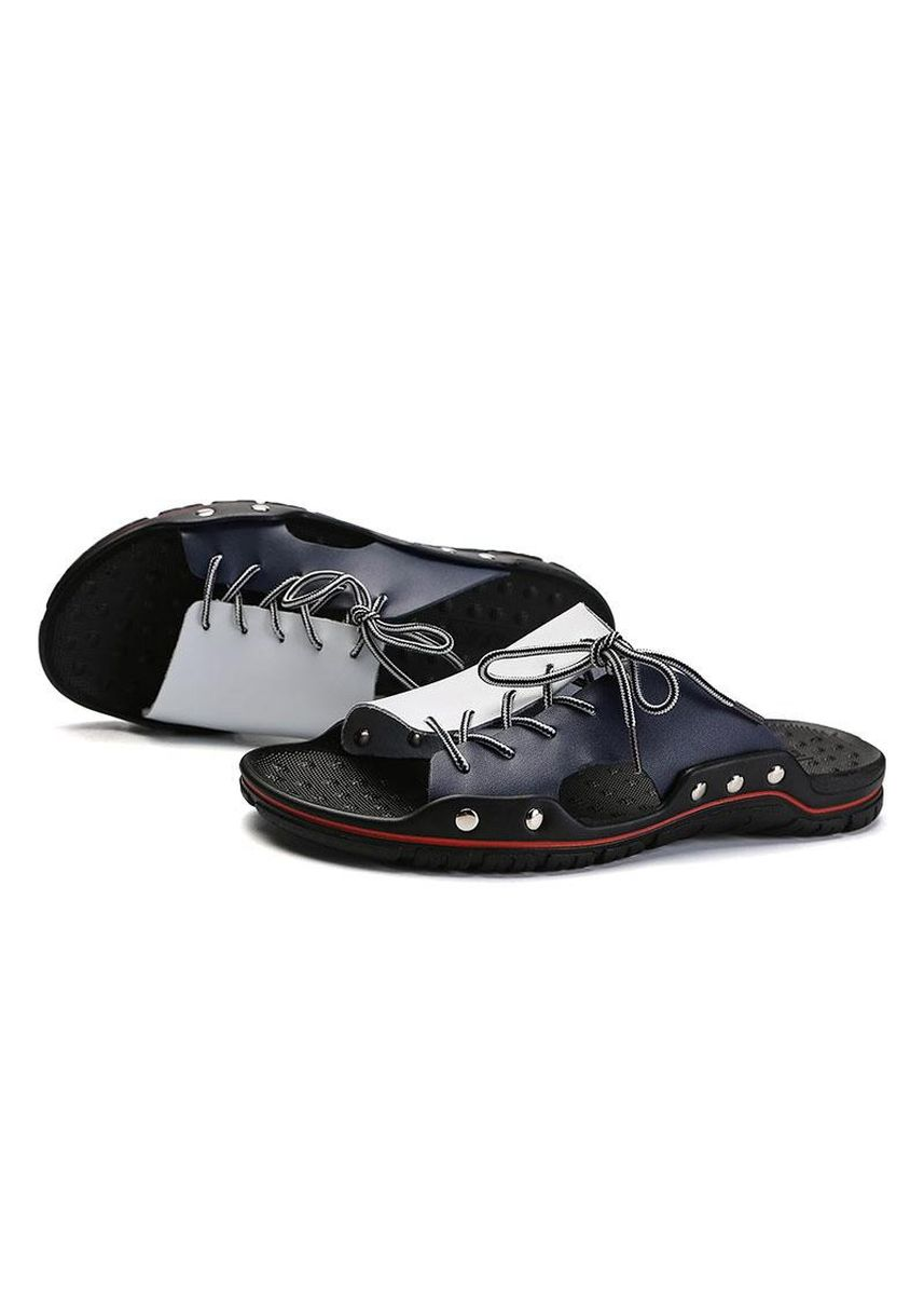 Blue color Sandals and Slippers . Men Leather Slippers Trend Syle Lace-up Slides Plus Size Flat Shoes -