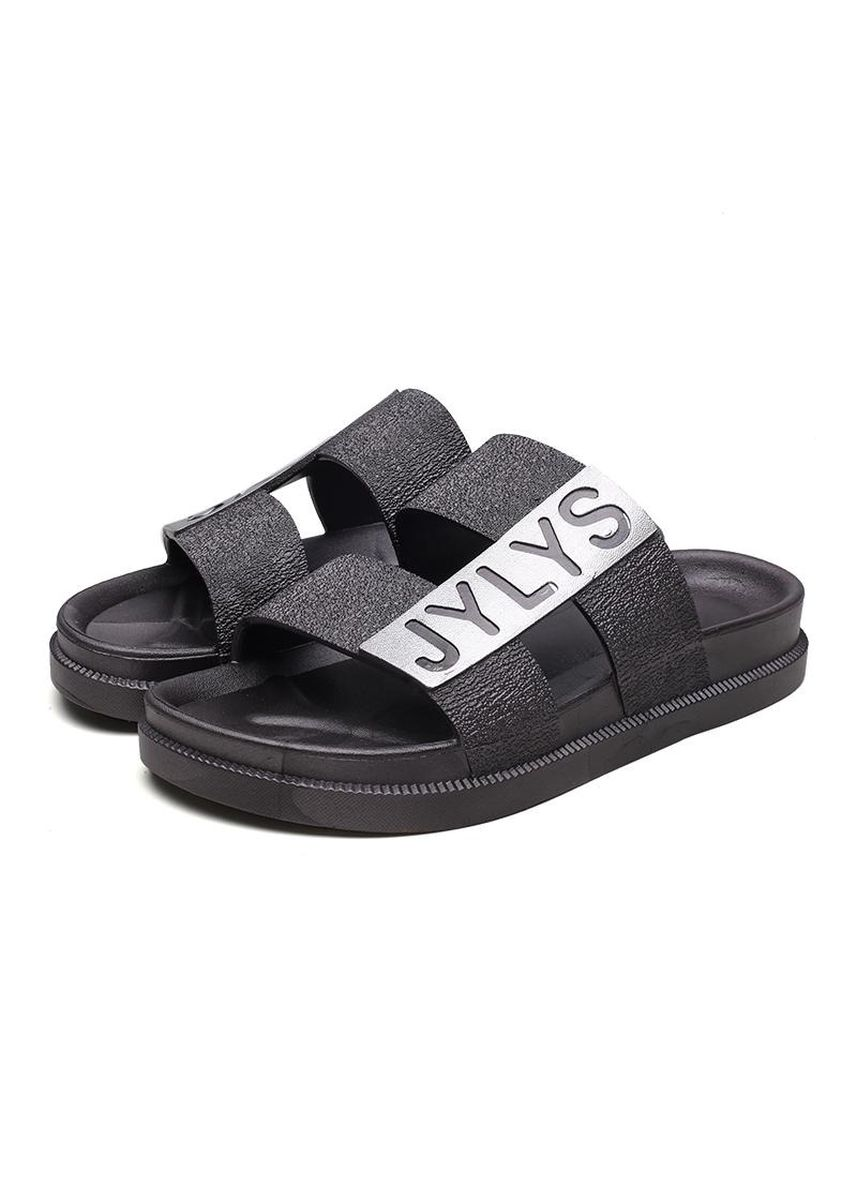 Grey color Sandals and Slippers . Men Letter Slides Plus Size High Abrasion Anti-skid Flat Sandals Comfortable Support Home Slippers -