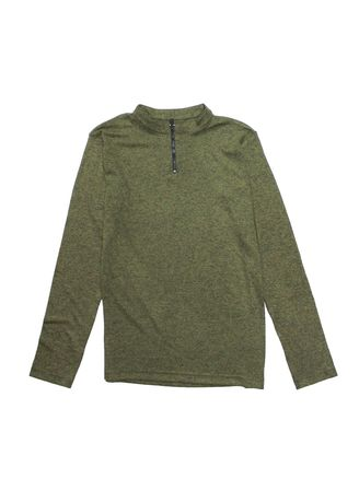 Green color Sweaters . What's UP Zip Neck Long Sleeve T-Shir -