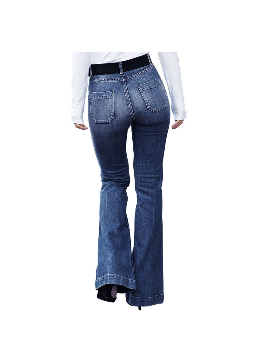 Blue color Jeans . Fashion casual loose straight blue high waist jeans -