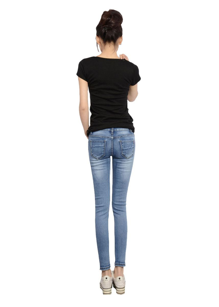Light Blue color Jeans . Casual shredded feet and stretch jeans -