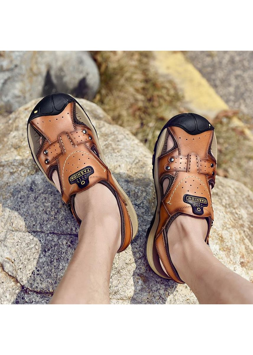 Brown color Sandals and Slippers . Fashion Beach shoes Outdoors Flat Heel leisure shoe -