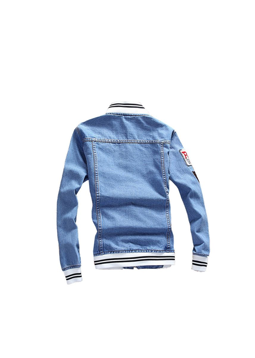 ฟ้า color แจ็คเก็ต . Knitted stand-up embroidered patch men's denim jacket -