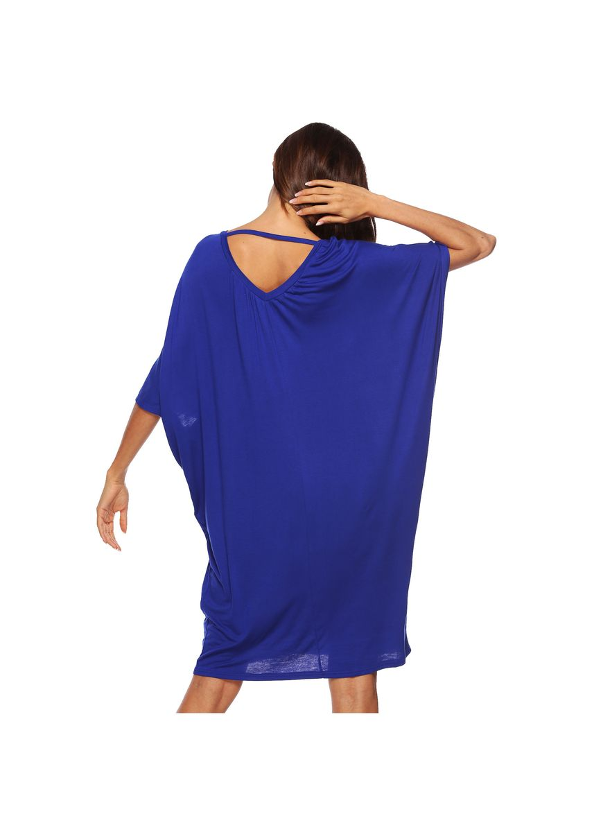 Navy color Tees & Shirts . New Loose Leisure Bat Sleeve Deep V Dress -