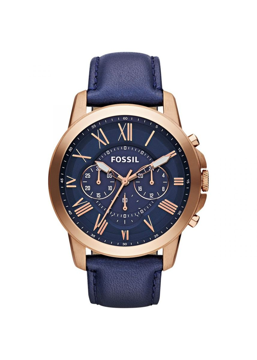 Navy color Chronographs . Fossil FS4835 Grant Chronograph Men's Rose Gold Navy Watch -