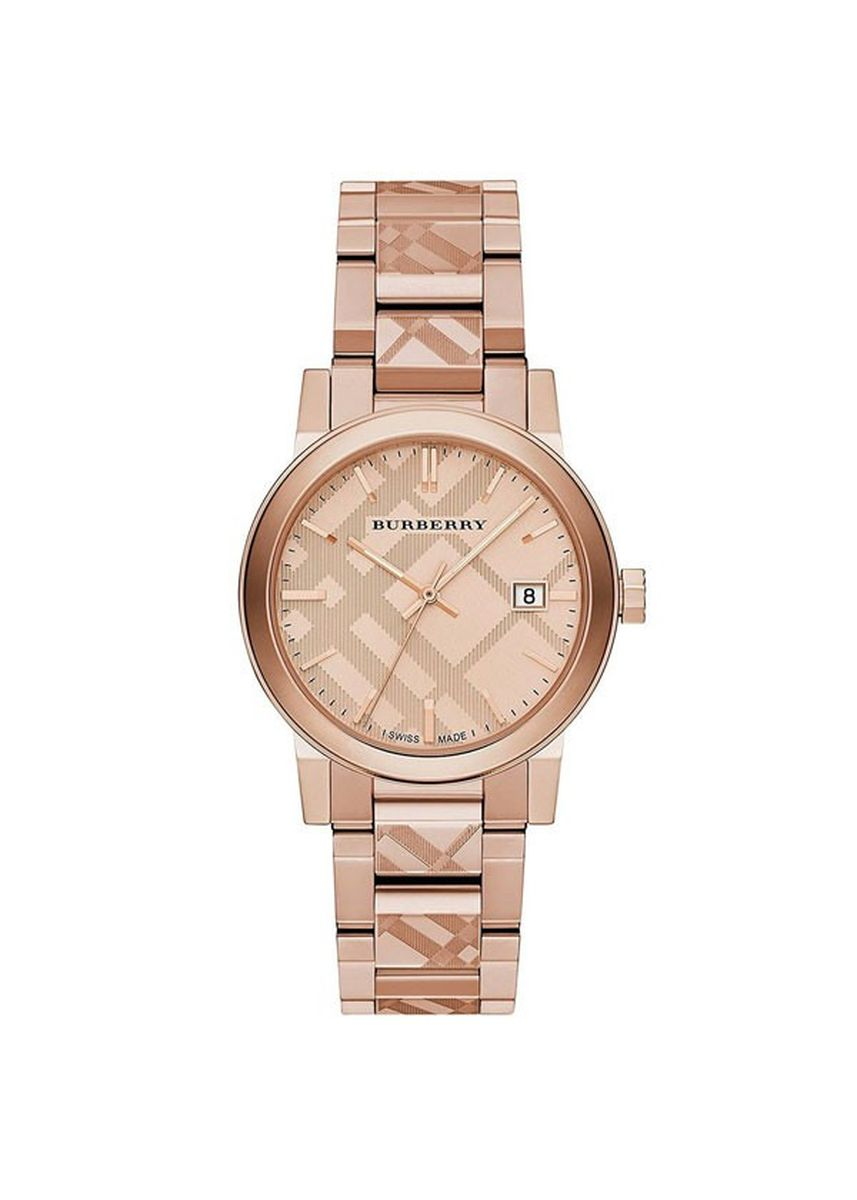 Pink color Analog . Burberry BU9039 Women's The City Engraved Check Rose Gold Watch -