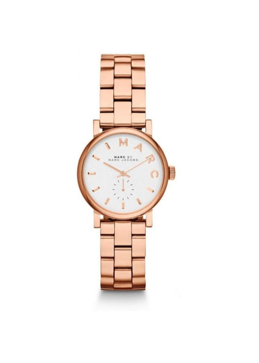 Pink color Chronographs . Marc By Marc Jacobs MBM3248 Baker White Dial Rose Gold-Plated Ladies Watch -