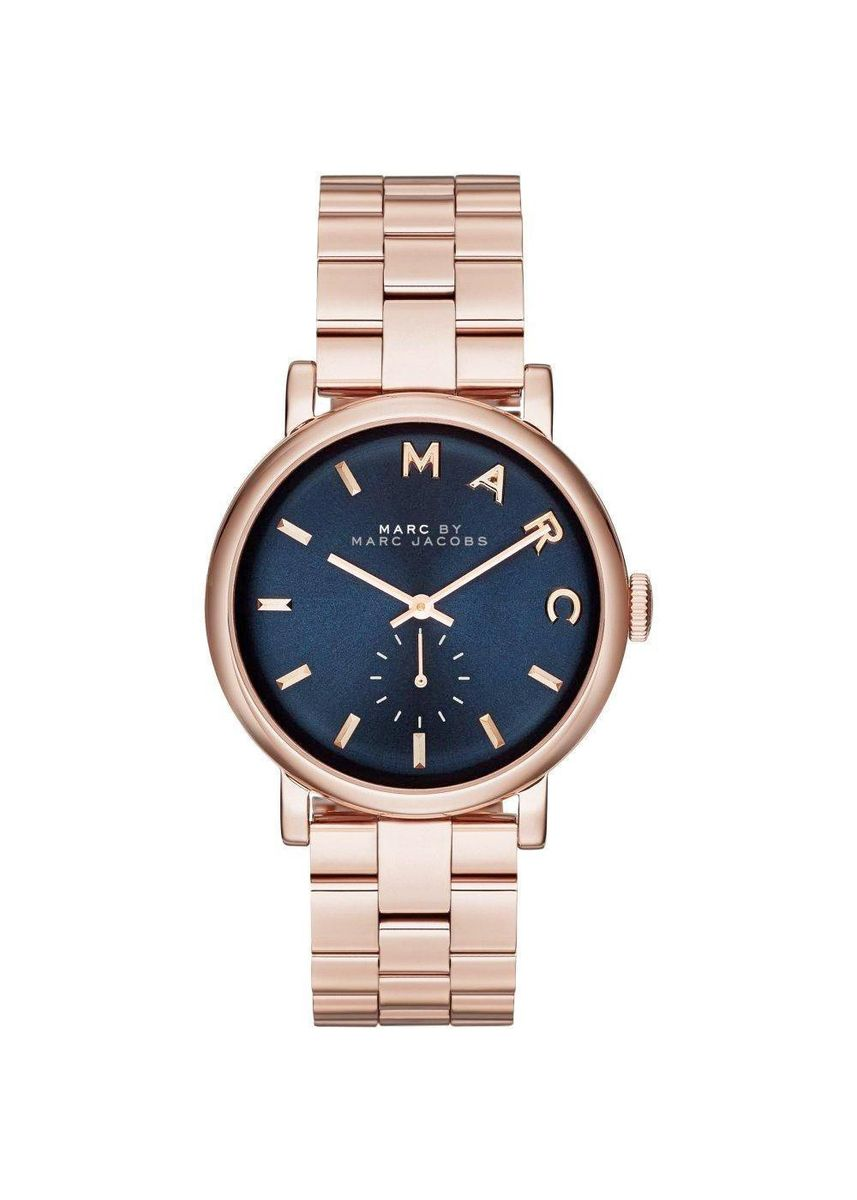Pink color Chronographs . Marc Jacobs MBM3330 Baker Navy Dial Rose Gold-Tone Womens Watch -