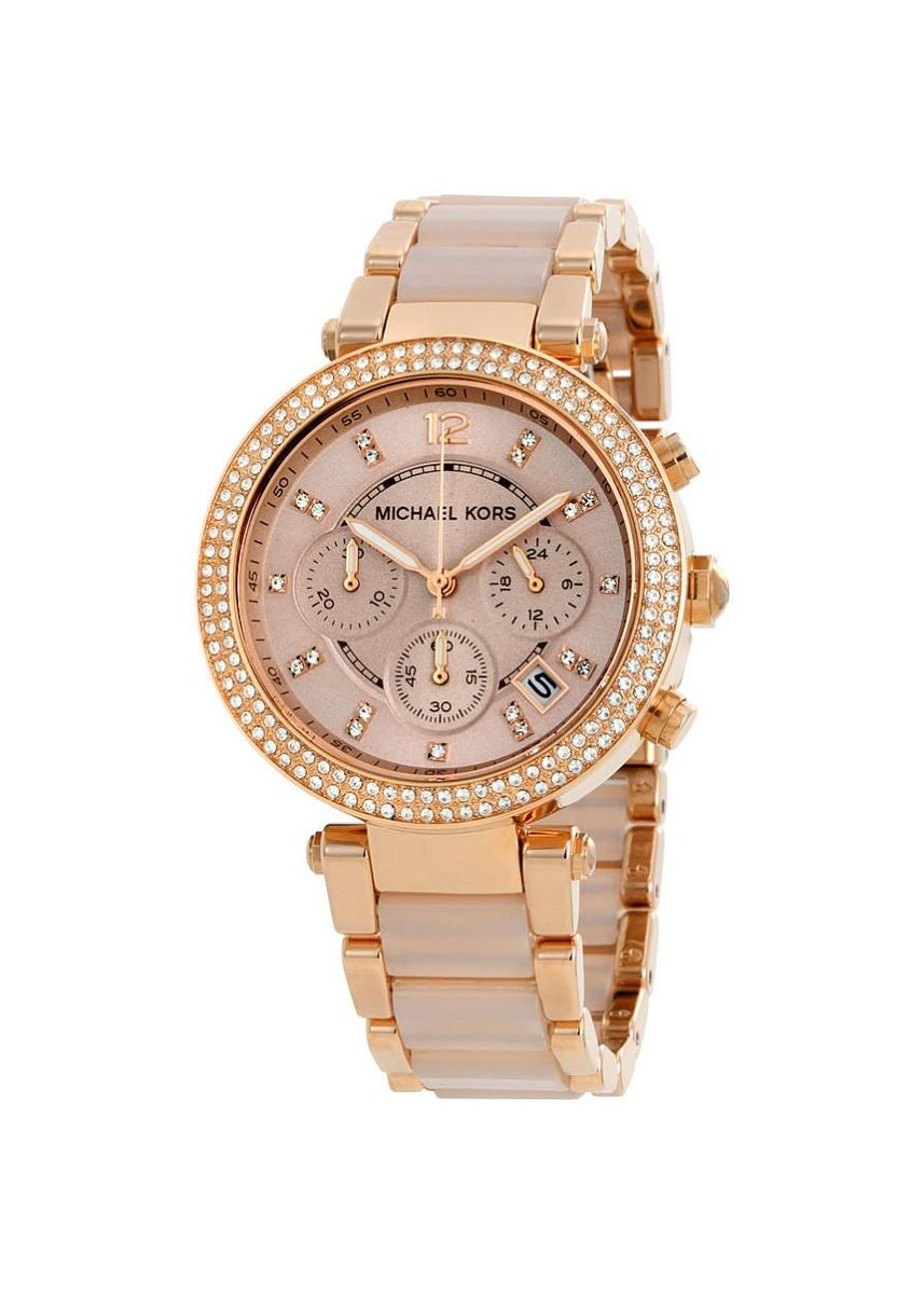 Pink color Chronographs . Michael Kors MK5896 Parker Blush Dial Womens Rose Gold Watch -
