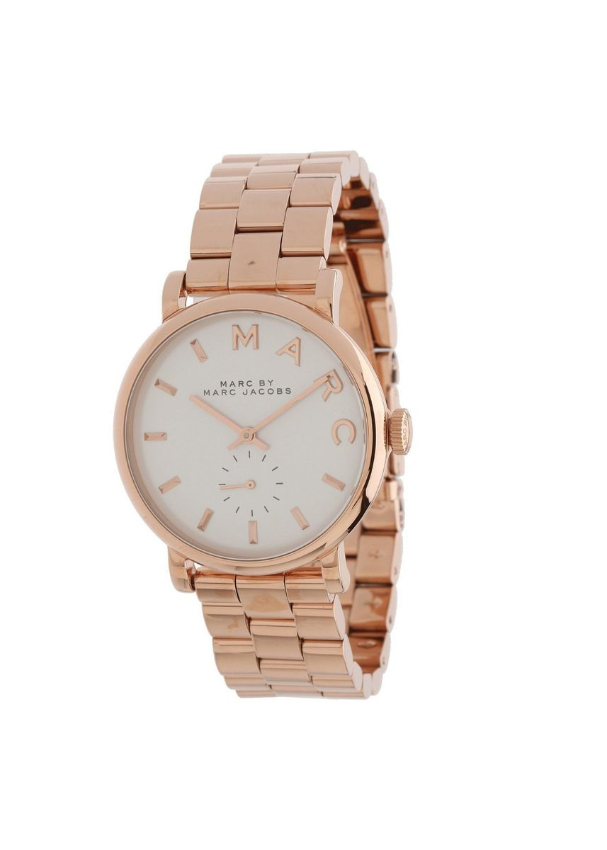 Pink color Chronographs . Marc By Marc Jacobs MBM3244 Silver Dial Rose Gold-Tone Ladies Watch -