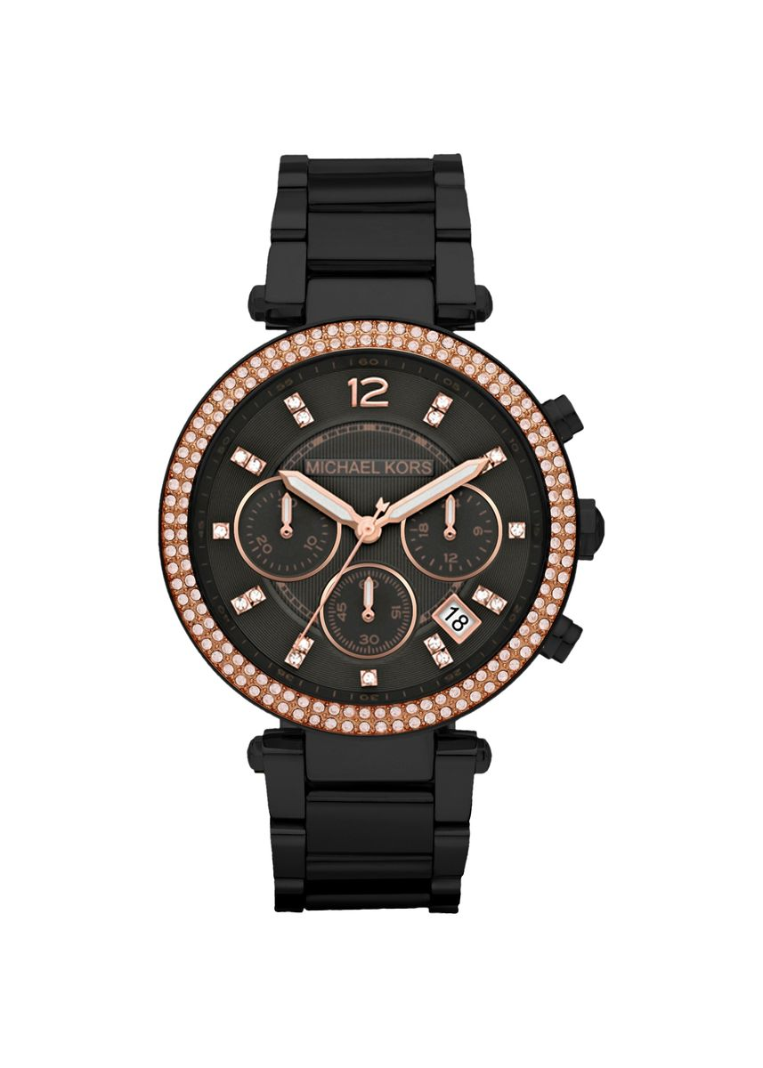 Black color Chronographs . Michael Kors MK5885 Parker Chronograph Black Dial Womens Watch -