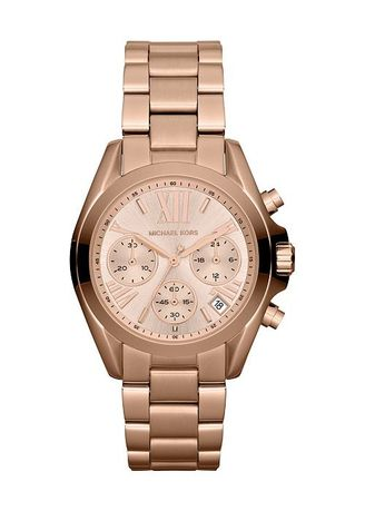 Pink color Chronographs . Michael Kors MK5799 Mini Bradshaw Chronograph Rose Gold-Tone Womens Watch -