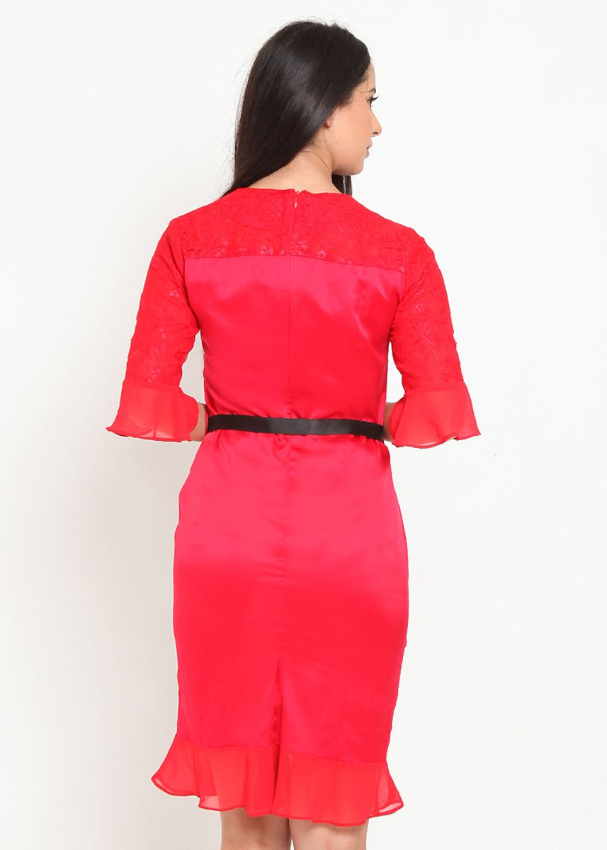 Merah color Terusan/Dress . Skater Dress with Lace -