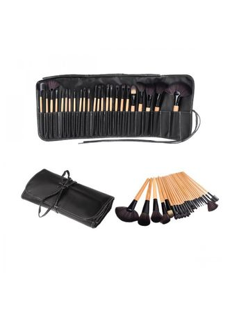 Black color Applicators . 24 Pcs. Makeup Brushes With Bag Case -