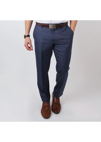 14b2e269df IDENTITY Mens Stylish Corporate Wear Office Dress Pants Slim Fit Straight  Slack Trousers - New Blue