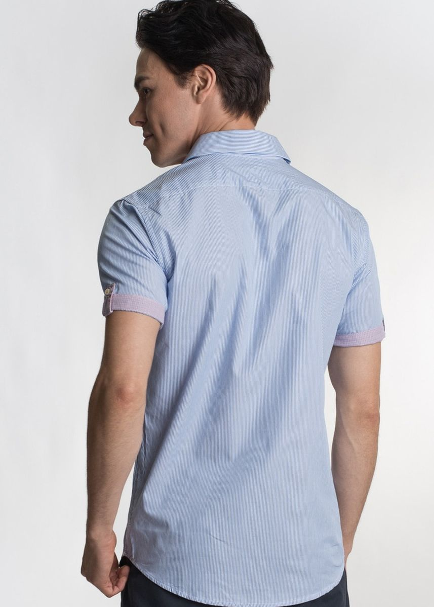 Light Blue color Casual Shirts . Août Singapore - Men's Short Sleeved Striped Cotton Shirt - April -