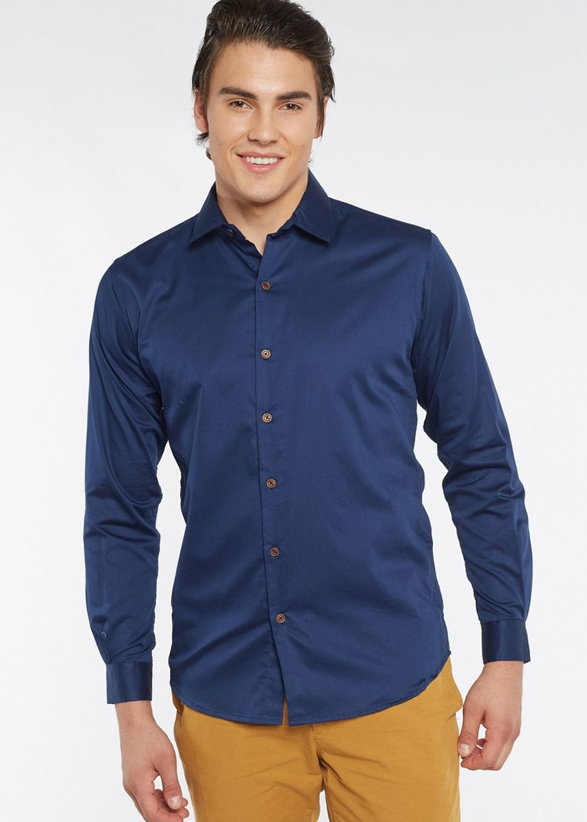 Blue color Formal Shirts . Août Singapore - Mens Long Sleeved Cotton Satin Shirt -