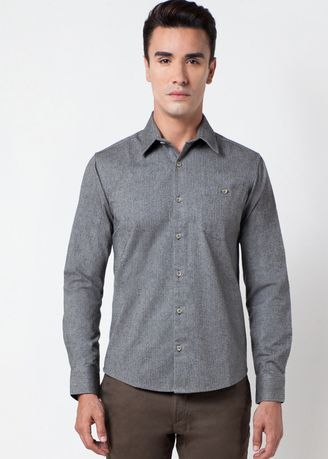 Grey color Formal Shirts . Août Singapore - Mens Long Sleeved Medium Weight Fabric - Marie -