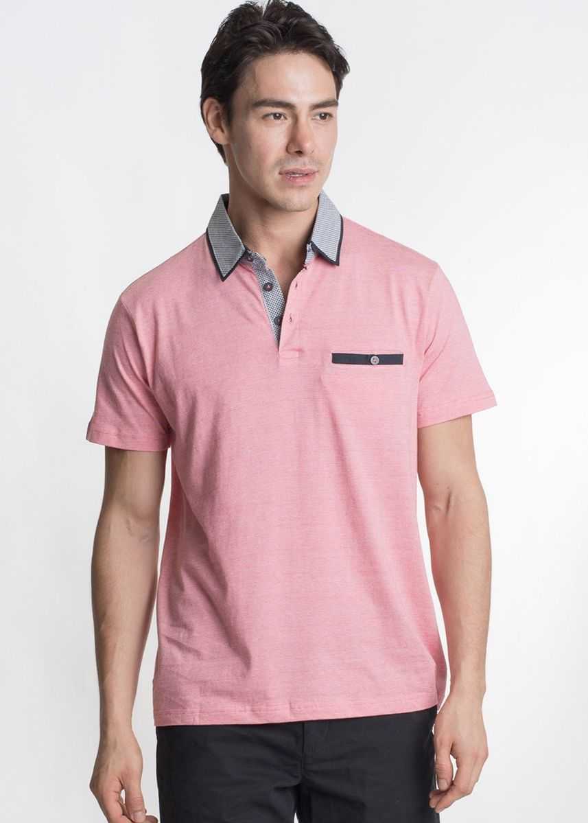 Pink color T-Shirts and Polos . Août Singapore - Mens Soft Touch Cotton Polo Shirt - Sara -