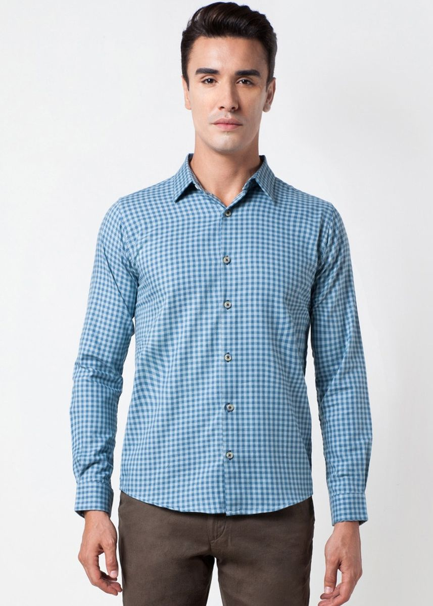 Blue color Formal Shirts . Août Singapore - Mens Long Sleeved Checkered Cotton Shirt - Suzanne -