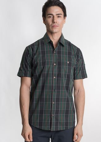 Green color Casual Shirts . Août Singapore - Mens Short Sleeved Checkered Cotton Shirt - Vahina -