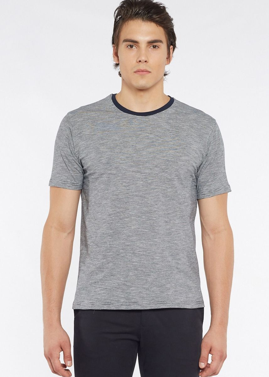 Grey color T-Shirts and Polos . Août Singapore - Mens Crew Neck Striped Cotton T-Shirt - Maya -