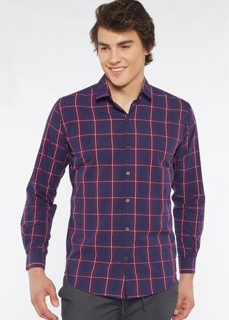 Navy color Casual Shirts . Août Singapore - Mens Long Sleeved Checkered Cotton Shirt - Raissa -