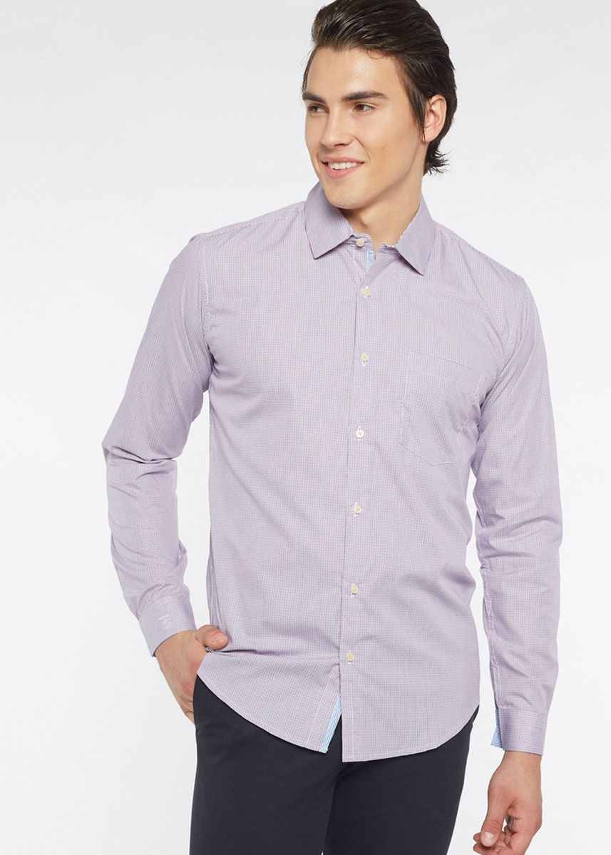 Purple color Formal Shirts . Août Singapore - Mini Checkered Easy Care Cotton Shirt - Jeanne -