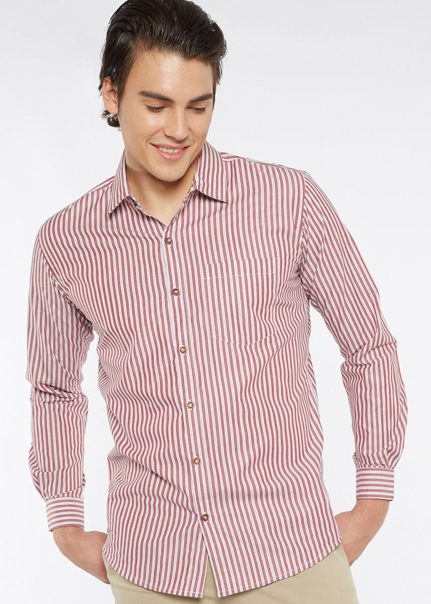 Purple color Formal Shirts . Août Singapore - Mens Long Sleeved Cotton Striped Shirt - Alexis -