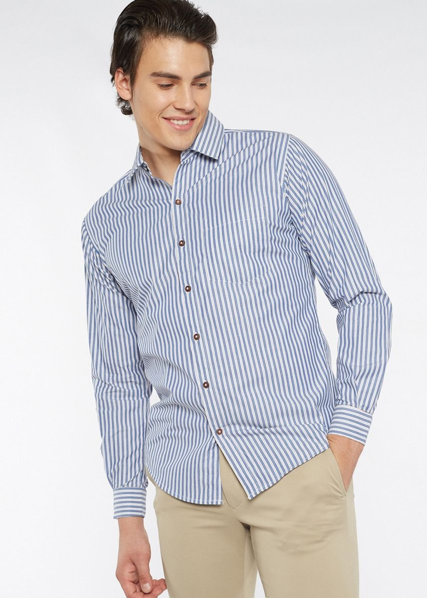Blue color Formal Shirts . Août Singapore - Mens Long Sleeved French Cuff Cotton Shirt - Nicole -