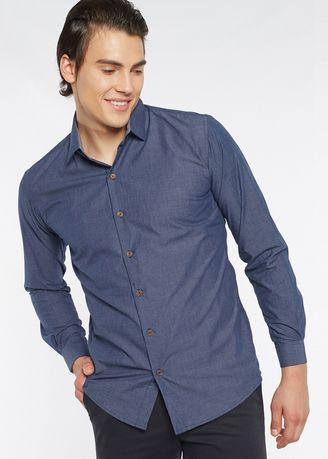 Blue color Formal Shirts . Août Singapore - Mens Long Sleeved Fil-A-FIl Cotton Shirt - Madeline -