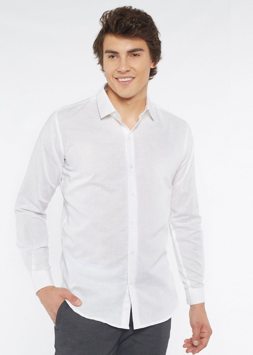 White color Formal Shirts . Août Singapore - Mens Long Sleeved Linen Shirt - Abella -
