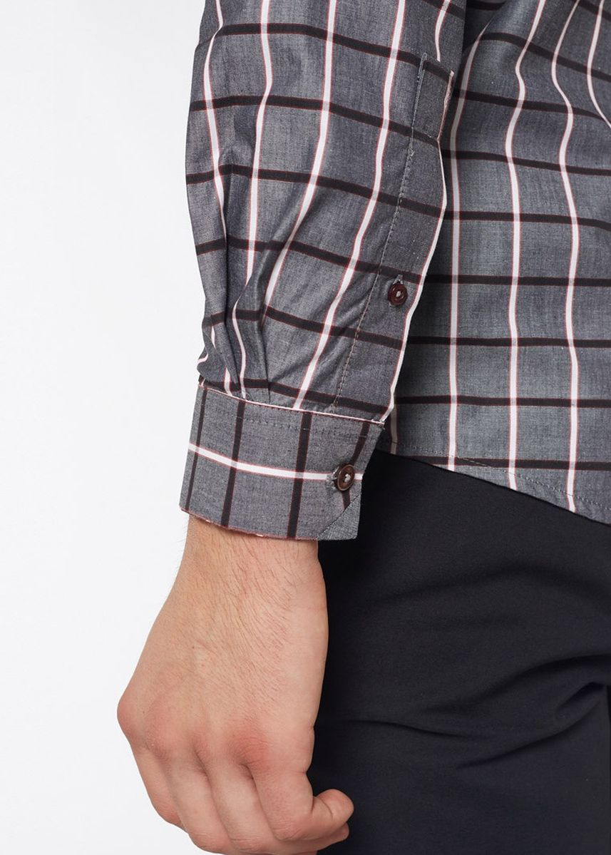 Grey color Casual Shirts . Août Singapore - Mens Long Sleeved Cotton Checkered Shirt - Belle -