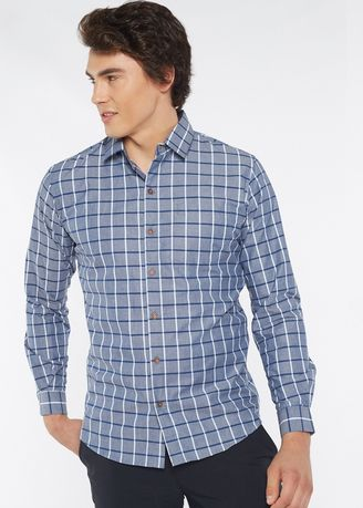 Grey color Casual Shirts . Août Singapore - Casual Cotton Checkered Shirt - Jelena -