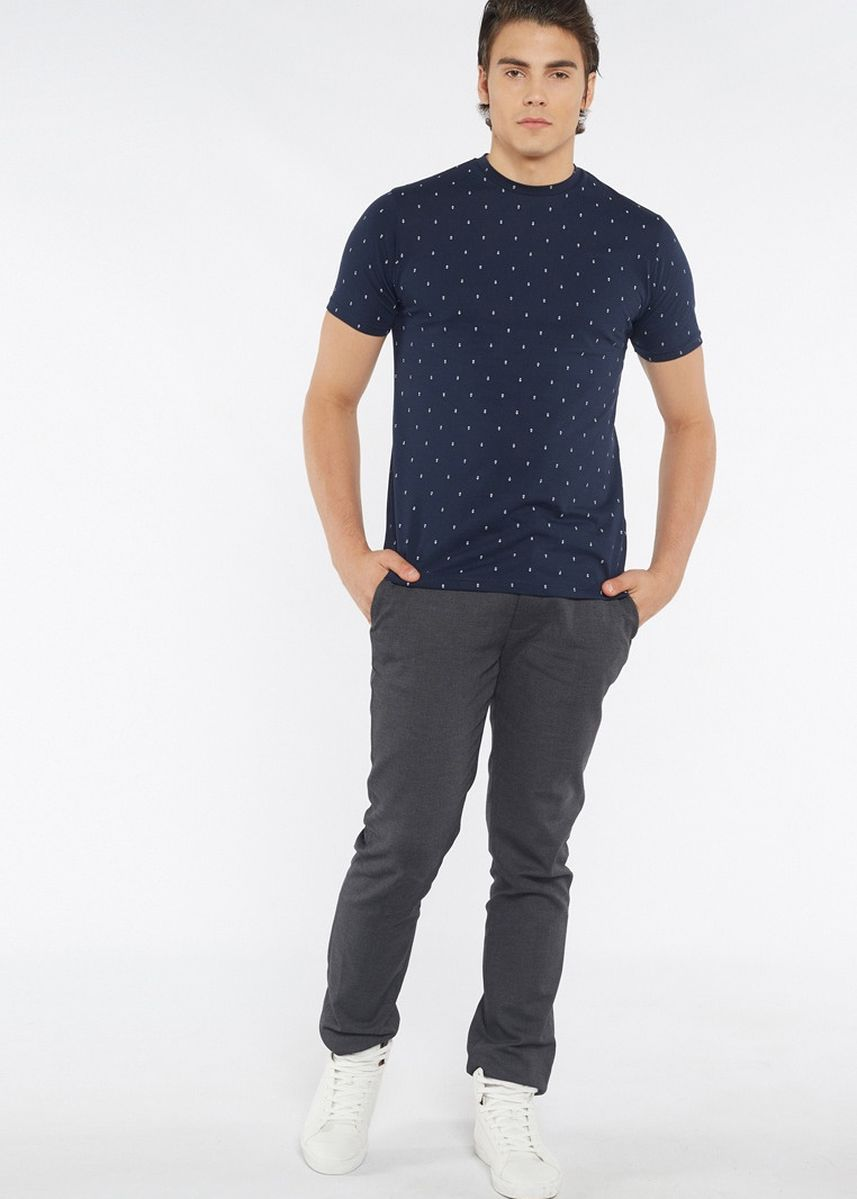 Navy color T-Shirts and Polos . Août Singapore - Mens Printed Crew Neck Cotton T-Shirt - Alma -