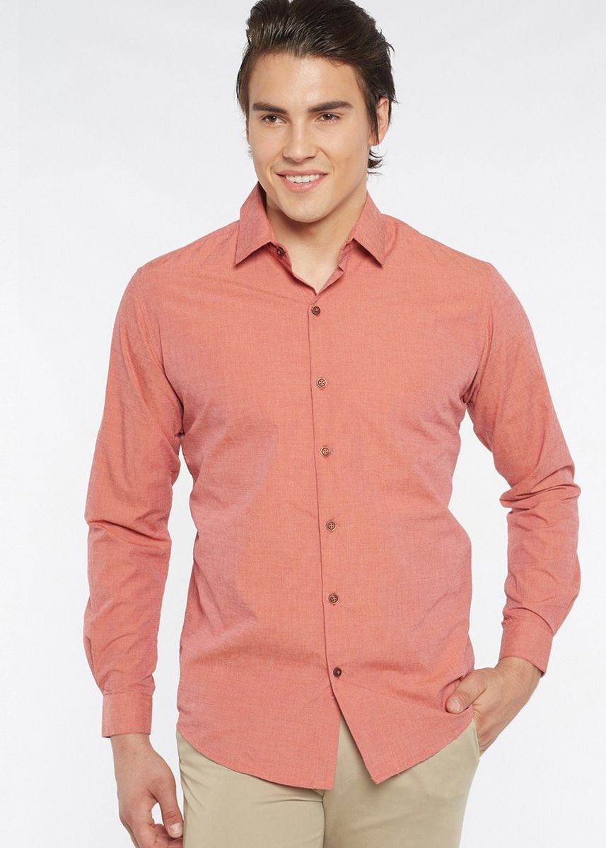 Red color Formal Shirts . Août Singapore - Mens Long Sleeved Fil-A-Fil Cotton Shirt - Kathryn -