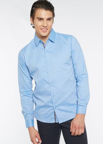 Light Blue color Formal Shirts . Août Singapore - Mens Long Sleeved Cotton Chambray Formal Shirt - Melanie -