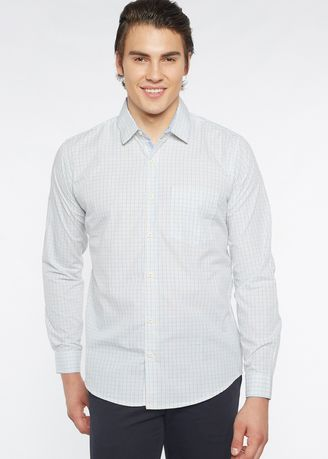 White color Formal Shirts . Août Singapore - Easy Care Mini Checkered Cotton Shirt - Bella -
