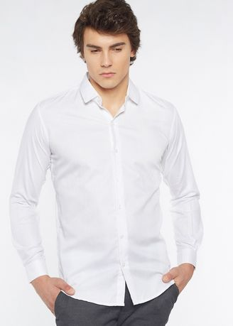 White color Formal Shirts . Août Singapore - Cotton Dobby White Formal Shirt - Valentine -