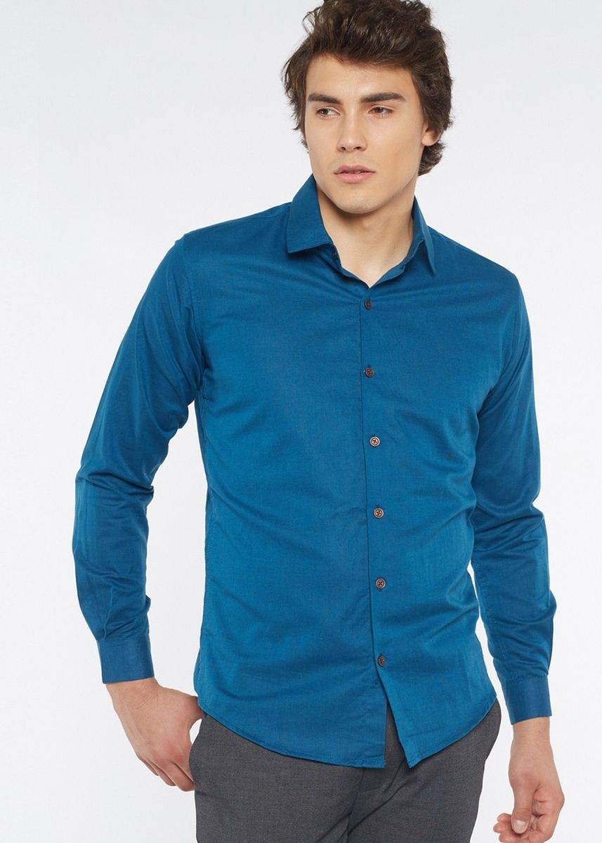 Blue color Formal Shirts . Août Singapore - Men's Long Sleeved Linen Shirt - Margot -