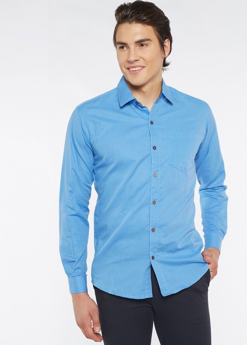 Blue color Formal Shirts . Août Singapore - Mens Long Sleeved Linen Shirt - Callie -
