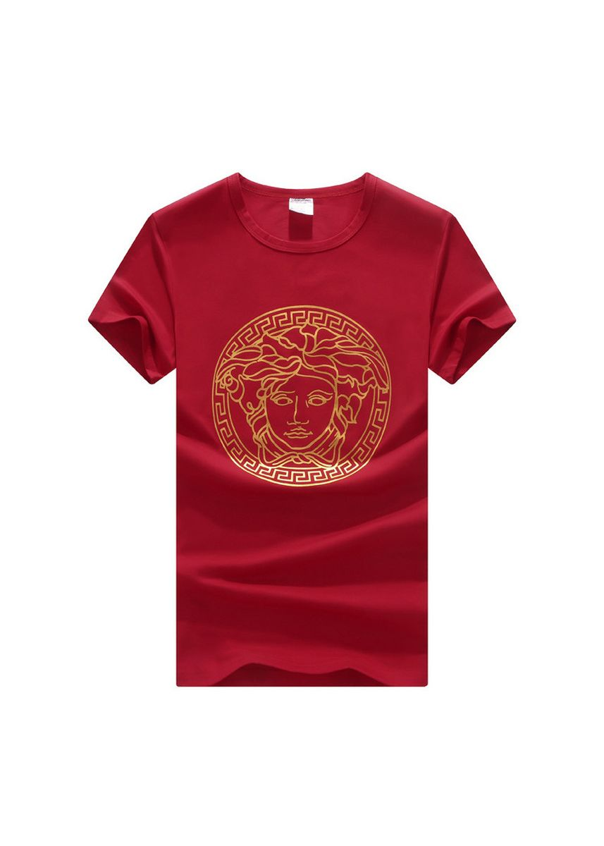 Red color T-Shirts and Polos . Fan Chao Brand Hot Stamping Medusa Men's Short-sleeved T-shirt Cotton -